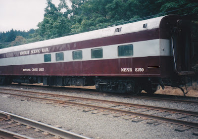 "Nicolet Scenic Railroad Ranch Car #8150 ""Running Crane Lake"" in Linnton, Oregon, on August 23, 1998"