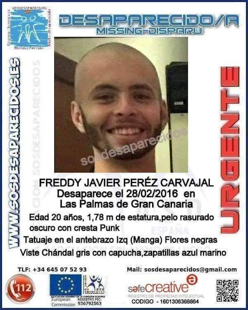 Freddy Javier Pérez Carvajal, joven desaparecido en Las Palmas de Gran Canaria