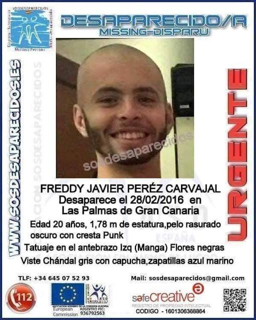 Freddy Javier Pérez Carvajal, joven desaparecido en Las Palmas de Gran Canaria