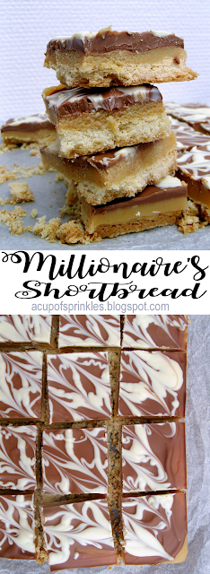 A millionaire's shortbread is a biscuit base covered in chewy caramel and topped with melted milk chocolate. It's also known as homemade Twix bars !