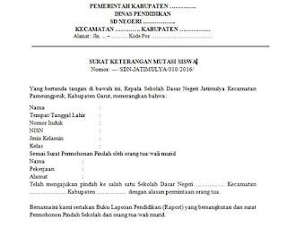 format surat mutasi siswa dari sekolah