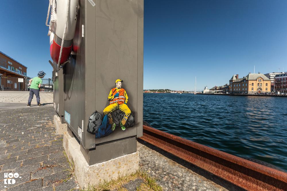 Belgian Street Artist Jaune, stencil art in Stavanger, Norway. Photo ©Mark Rigney / Hookedblog