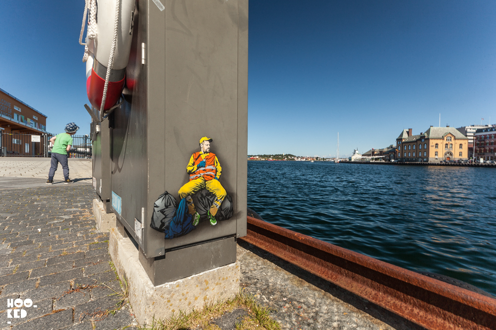 Belgian Street Artist Jaune, stencil art in Stavanger, Norway. Photo ©Mark Rigney / Hookedblog