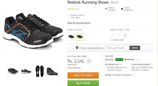 Flipkart Offer Amazon Snapdeal Discount Sale Reebok Shoes Running
