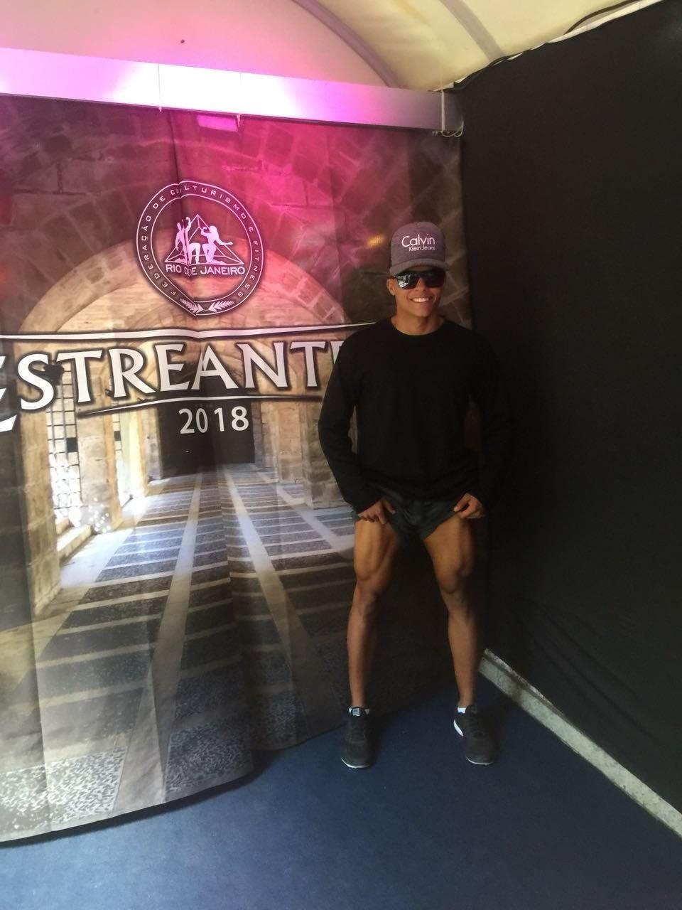 Fisiculturista Richard Pereira nos bastidores do Estreantes 2018. Foto: Sidney Boock