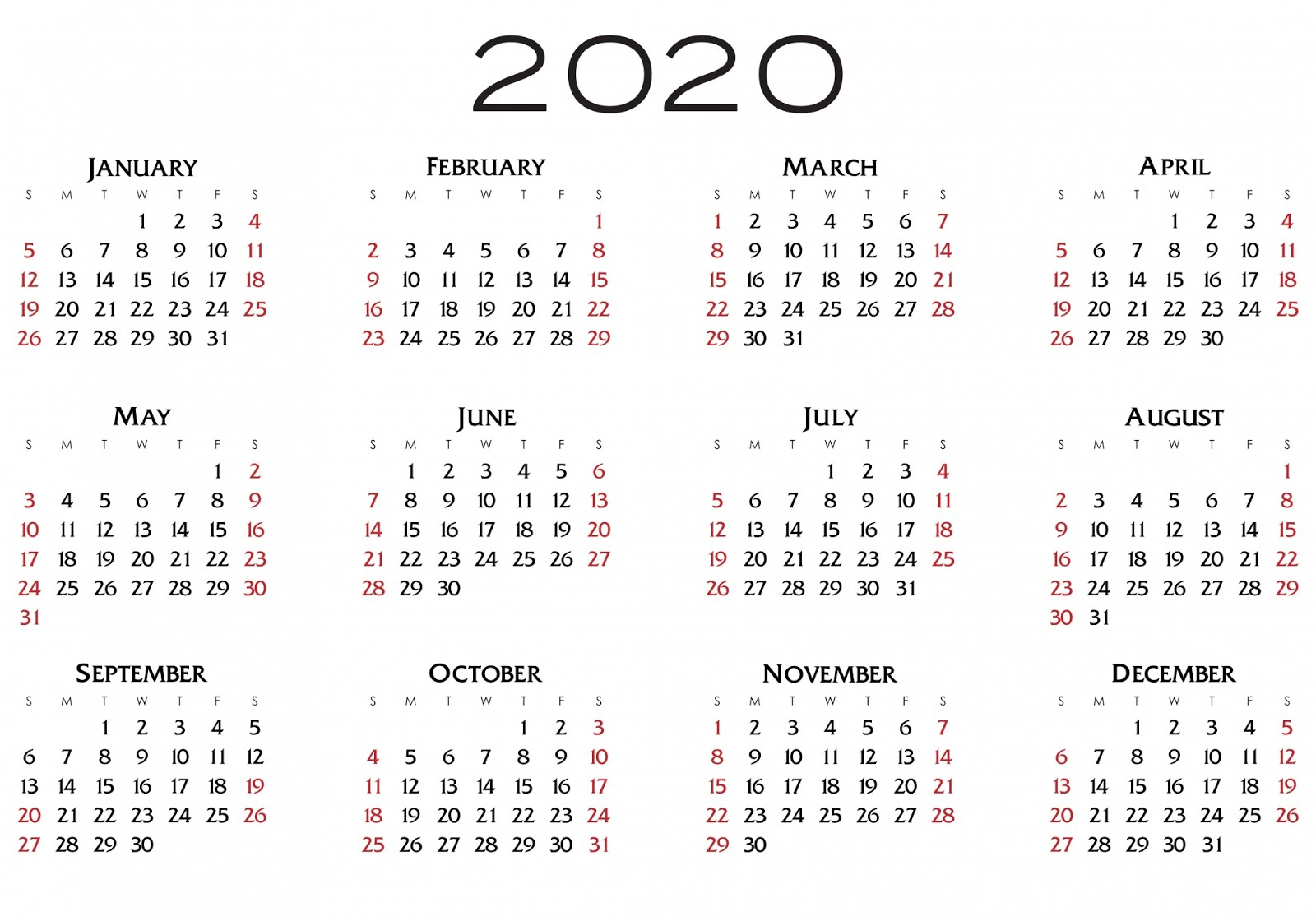 2020 printable calendar pdf | calendars - kalendar ...