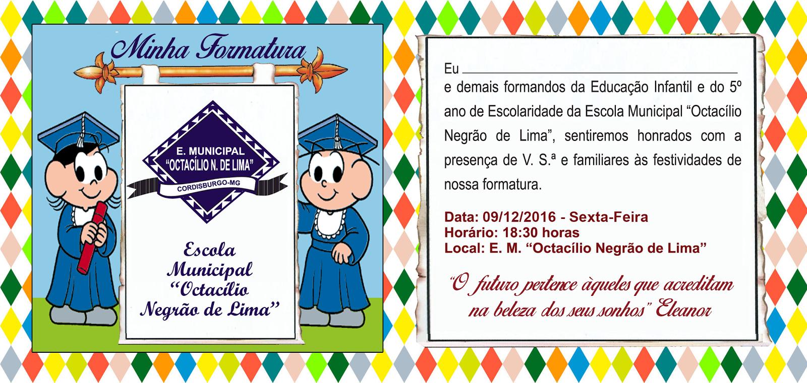 Tag Mensagem De Convite De Formatura Educação Infantil