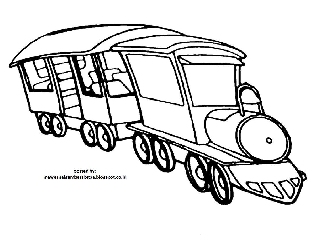 Mewarnai Gambar Sketsa Kereta Api 2
