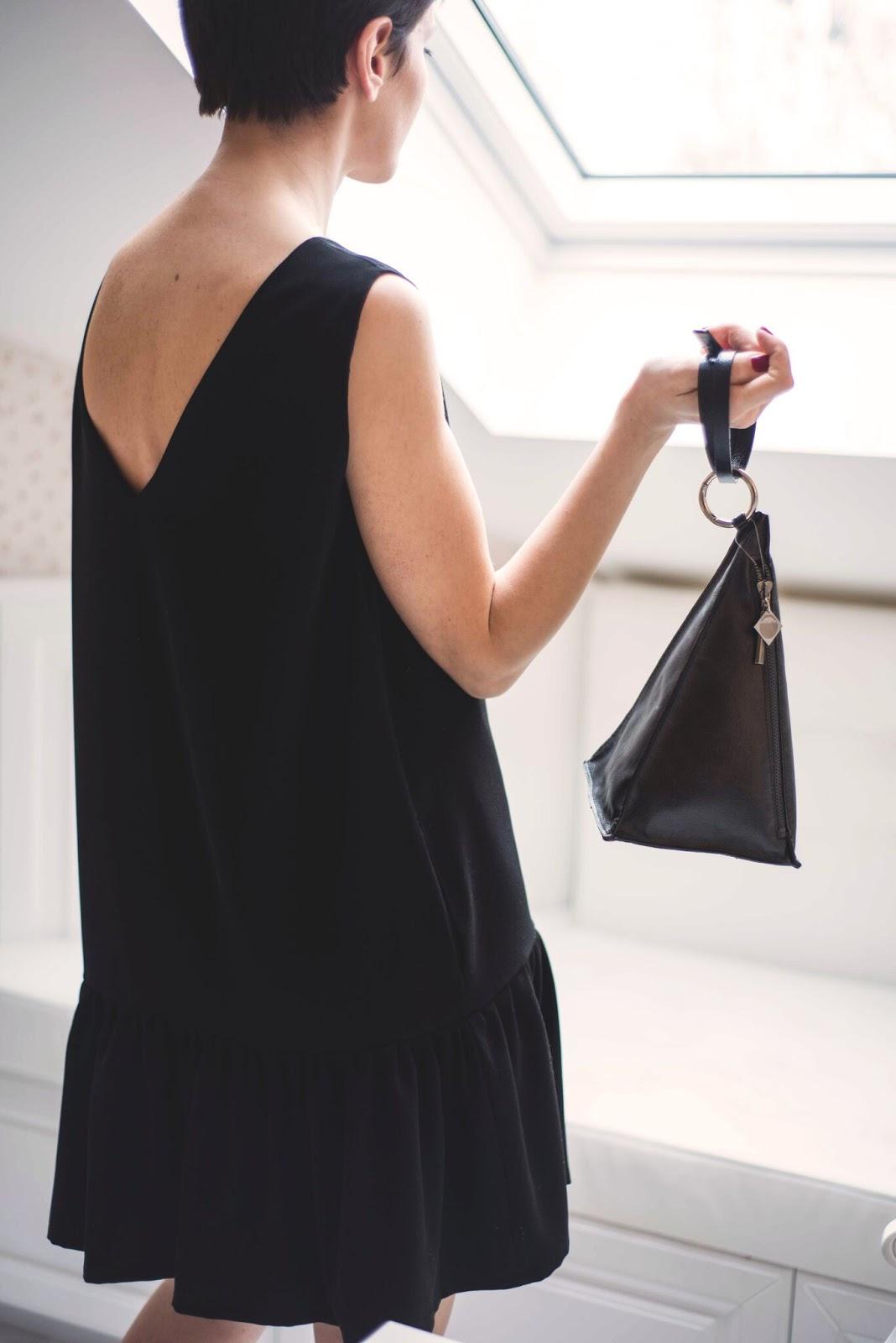 mała czarna, sukienka, szafa kapsułowa, capsule, wardrope, stylizacje, stylistka, blog po 30-tce, stylistka radzi, nibabalnie, klasyczna sukienka, sukienka z falbnką, red lips, short hair,