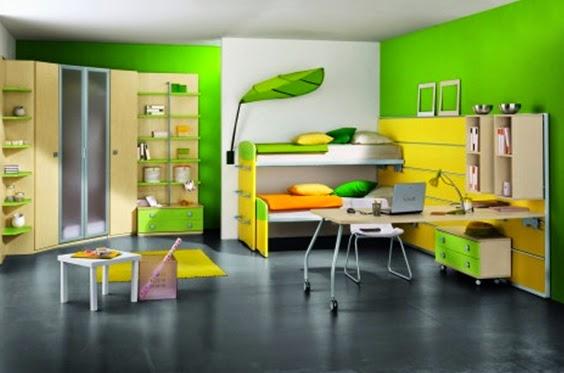 Desain kamar tidur anak dominan warna hijau