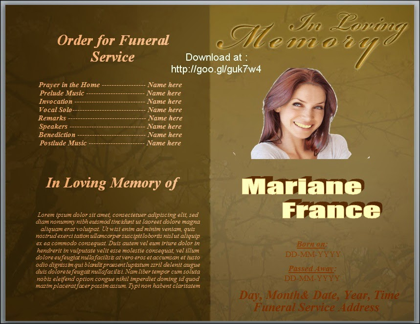 funeral program template bi fold inspiks market of template of – Sample Funeral Programs
