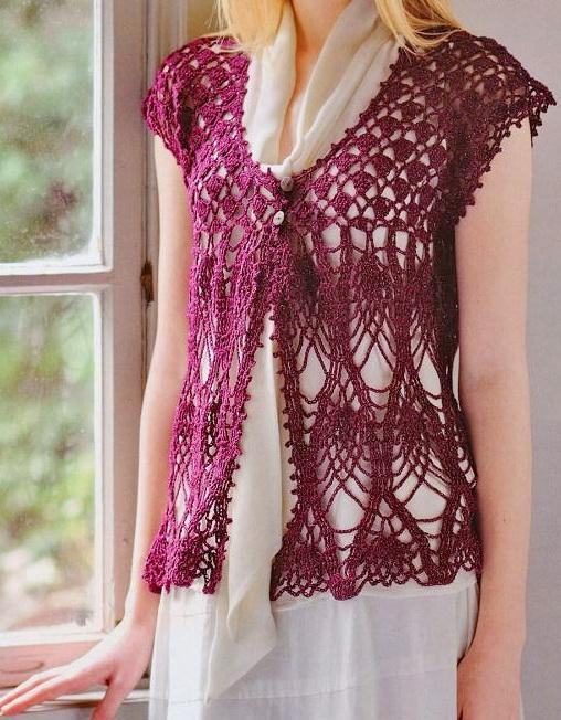 Free Crochet Pattern For Lace Vest : Crochet Sweaters
