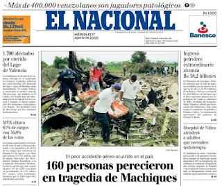 Periodico de la tragedia del vuelo 708 de West Caribbean el 16 de agosto de 2005