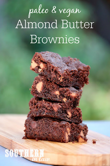 Paleo and Vegan Almond Butter Brownies Recipe - gluten free, vegan, paleo, egg free, dairy free, sugar free, healthy, clean eating dessert recipe, flourless, grain free