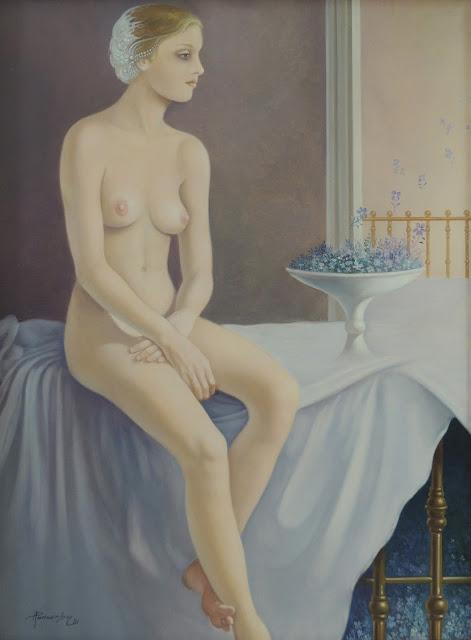 Alberto Pancorbo arte moderno hiperrealista surrealista desnuda soledad con flores