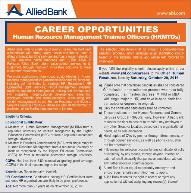 MTOs Jobs in ABL Bank Jobs i