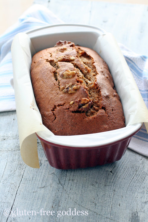 Warm from the oven, beautiful loaf of Gluten-Free Banana Nut Bread