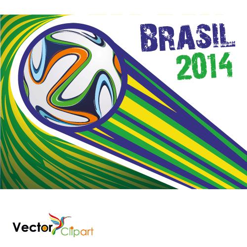 Brazuca Brasil 2014 colores planos - Vector