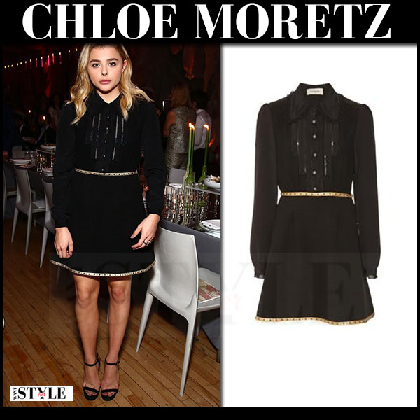 Chloe Moretz in black long sleeve mini dress coach what she wore