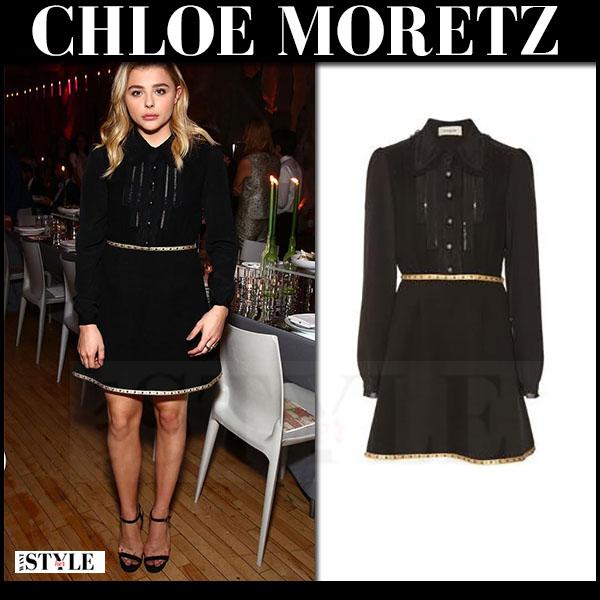 Chloe Moretz in black long sleeve mini dress coach what she wore