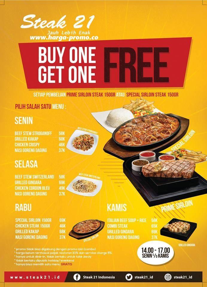Promo STEAK 21 Terbaru Senin - Kamis Buy 1 Get 1 Free