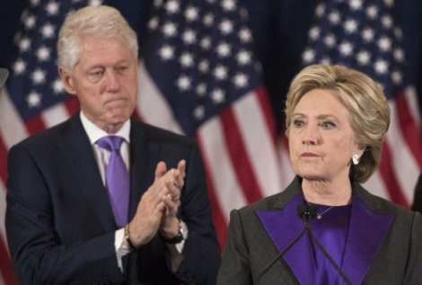 Bill and Hillary Clinton (in solidarity with George Soros and the Purple Revolution) during her bitter concession speech.