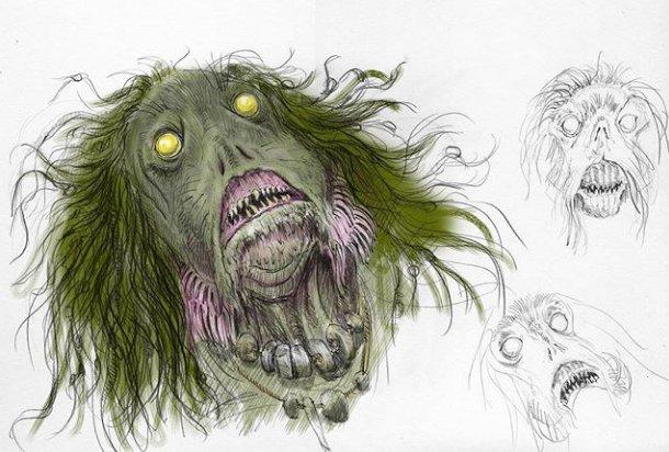 Cálice de Fogo ilustrado: desenho do sereiano que foi descartado por ser grotesco.