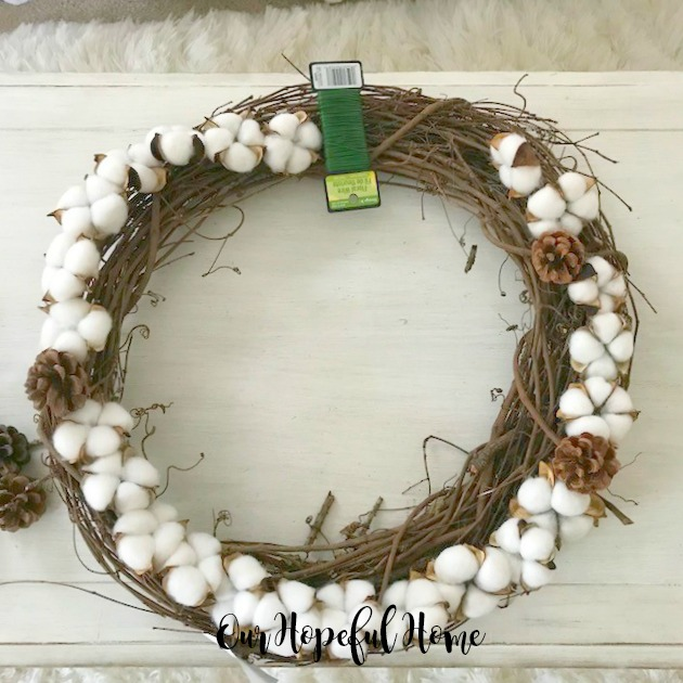 cotton boll pine cone floral wire garland wreath