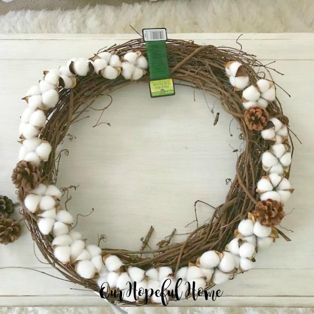 cotton boll pine cone floral wire garland wreath