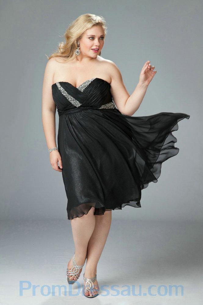 Black Plus Size Graduation Dresses College Women Wedding Gowns