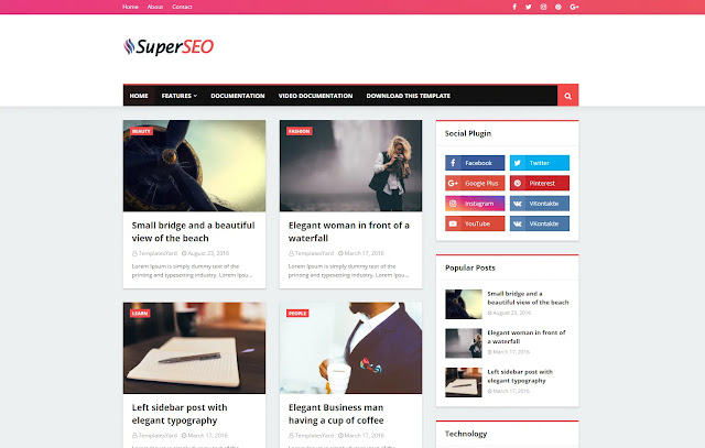 Super Seo Responsive Personal Blog Simple Minimalist Blogger Template Theme