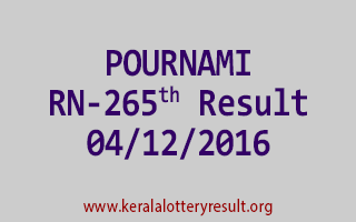 POURNAMI RN 265 Lottery Results 4-12-2016