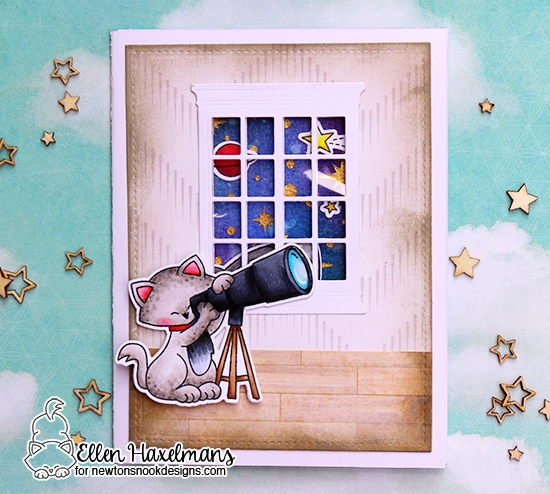 Cat with Telescope Space Card by Ellen Haxelmans | Cosmic Newton Stamp Set by Newton's Nook Designs #newtonsnook
