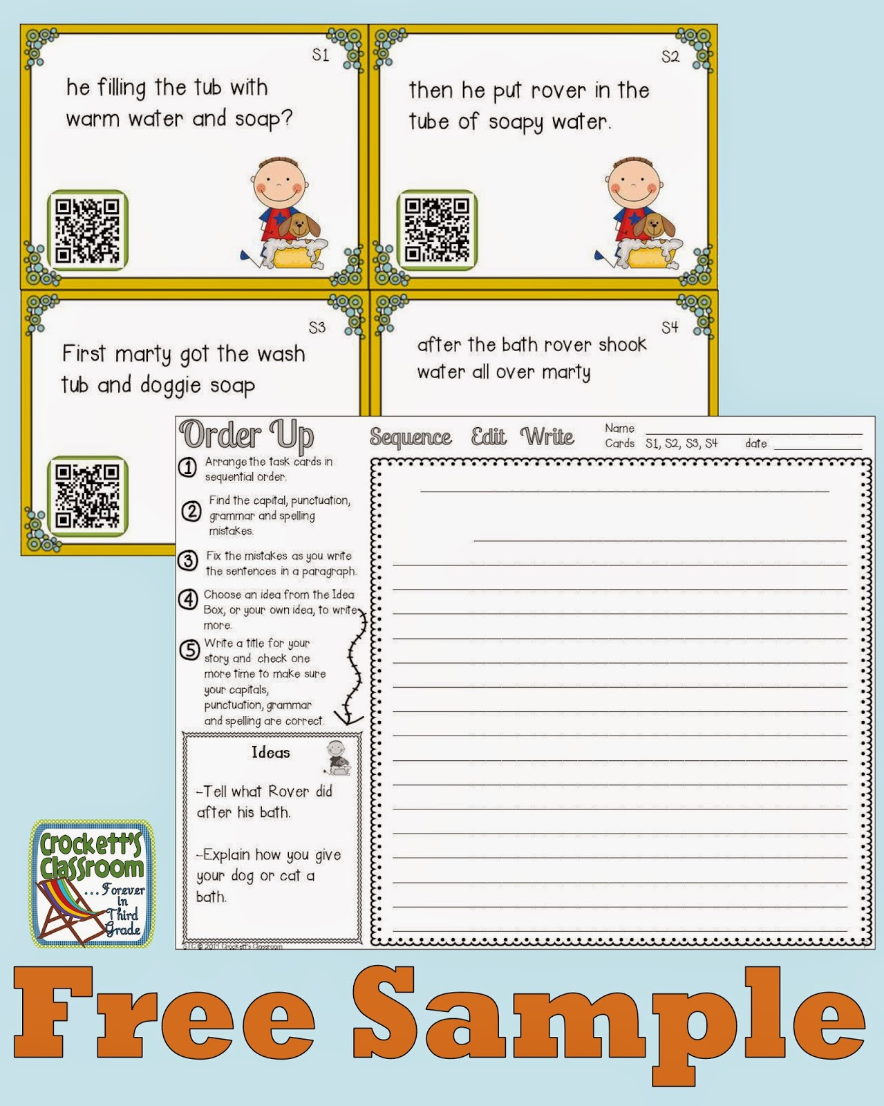 Order Up task cards. Students sequence the cards, edit, and then write them into a paragraph.