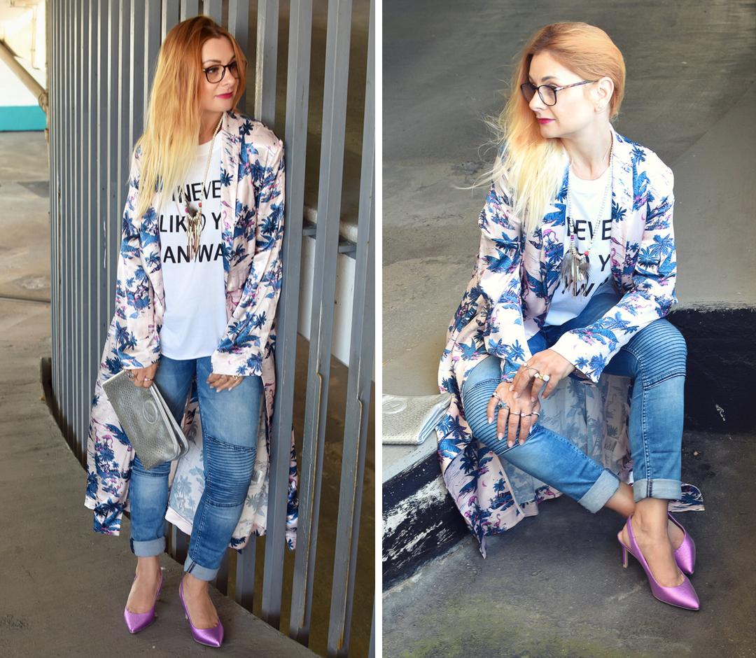 Rosa Slingback Pumps, Kimono, Blue Jeans