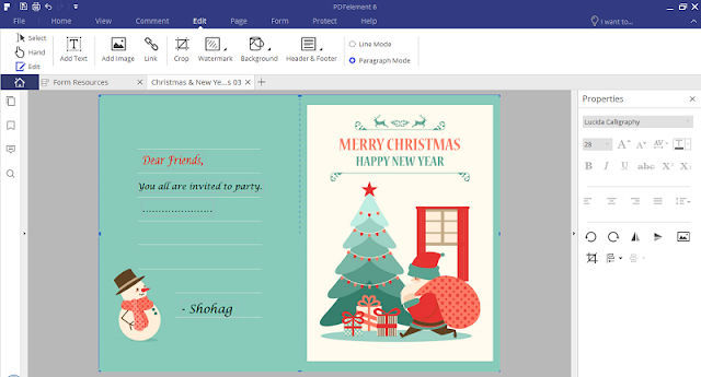 pdfelement christmas free template