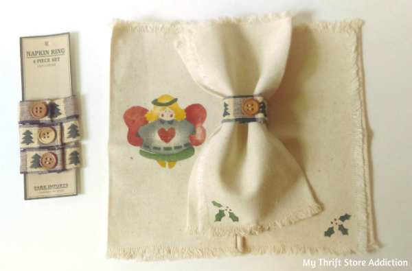 Christmas napkins and napkin rings
