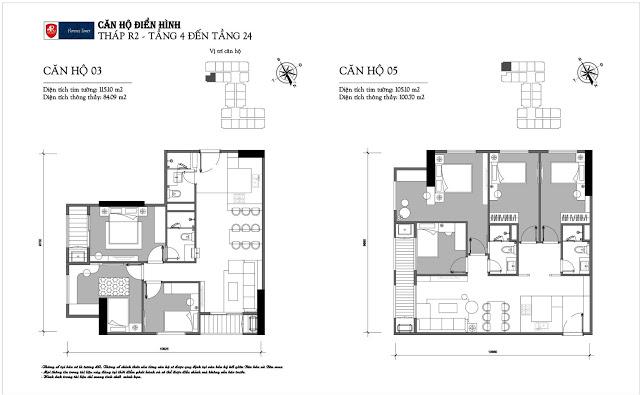 Thiết kế căn hộ 03-05 tòa R2