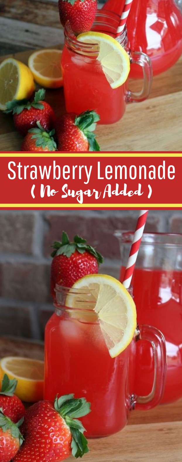 Strawberry Lemonade with No Sugar Added #healthy #summerdrink