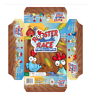 Rooster Race vertical version of the package front by Imagine That! Design