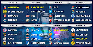 Grupos para la Champions League 2018-2019. Sorteo de grupos para la Champions League 2018-19. Fase de grupos Champions League 2018-2019. Calendario de juegos y horarios Champions League 2018/19. UEFA  Champions League 2018/19.