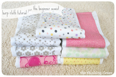 http://www.thinkingcloset.com/2013/03/27/burp-cloth-tutorial-for-the-beginner-sewist/