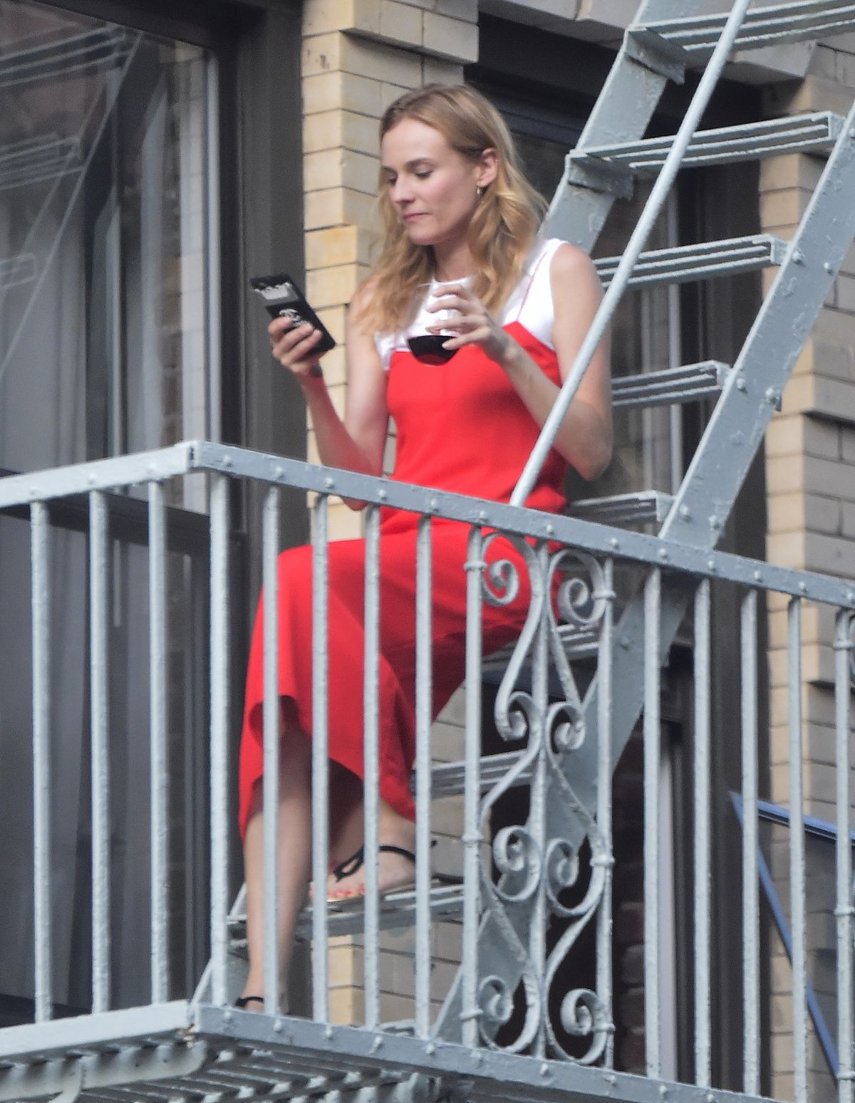 Diane Kruger On Her Fire Escape in New York