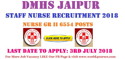 DMHS Jaipur Staff Nurse Recruitment 2018
