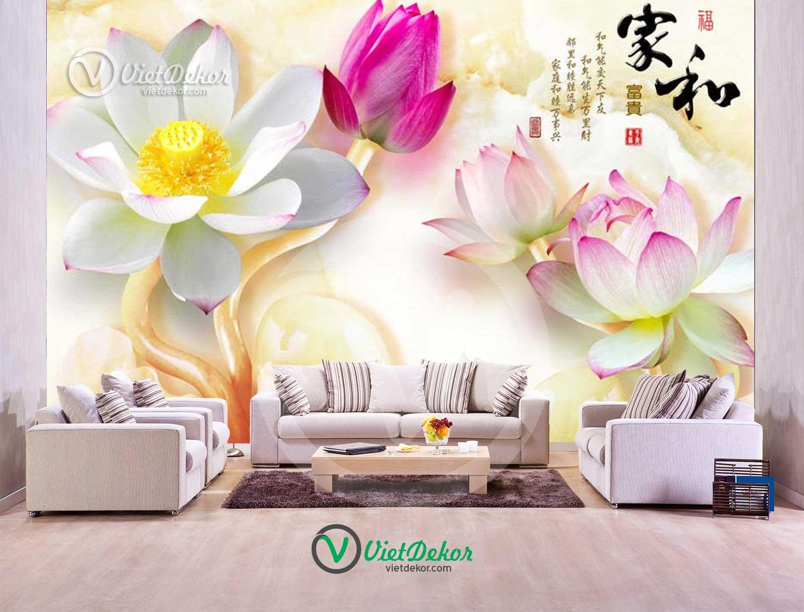 Tranh dán tường 3d hoa sen
