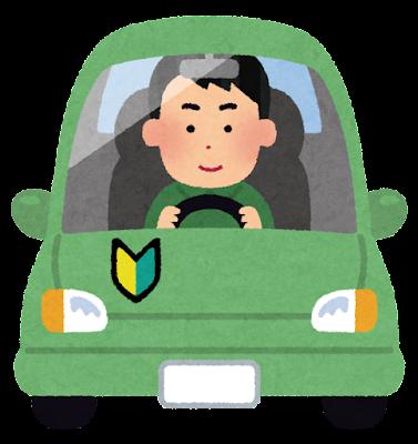 初心者マークをつけて運転する人のイラスト