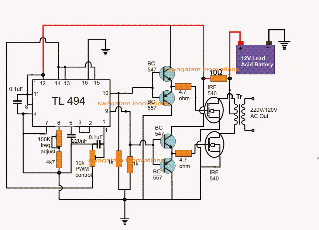 12v Dc Converter Schematic Auto Electrical Wiring Diagram Ac Circuit Simplest Pwm Modified Sine Wave Inverter Using Ic Tl494 220v To