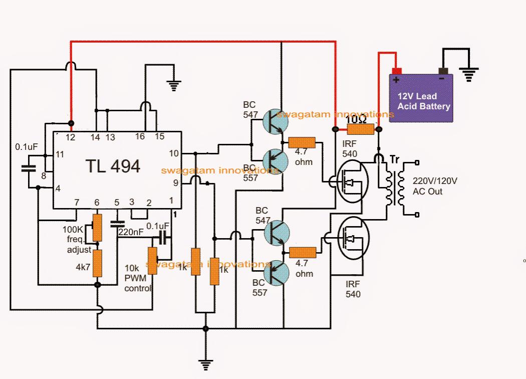 Ic Tl494 Pwm Modified Sine Wave Inverter Circuit