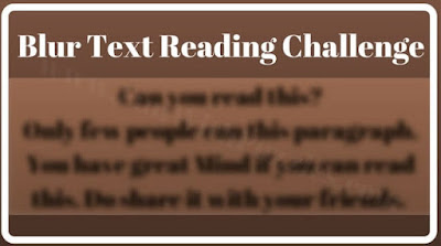 Reading Challenge to read a blur text