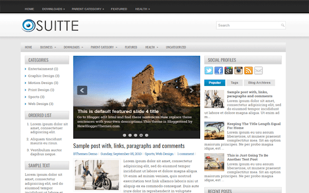 Suitte Free Blogger Template